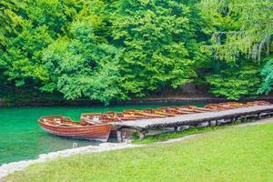 bruna båtar vid pir sjön kocjak plitvice sjöar nationalpark. foto