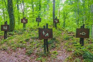 förbudsskyltar i skogen Plitvice Lakes National Park Kroatien. foto