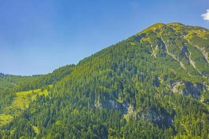 underbart trädbevuxet berg och alpint panorama i Kärnten Österrike. foto