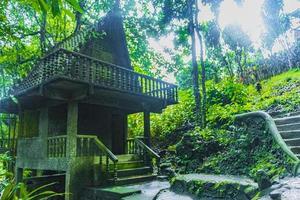 tar nim vattenfall tempel hemlig magisk trädgård koh samui thailand. foto