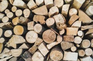 bakgrund med trä staplade upp och redo att brännas foto
