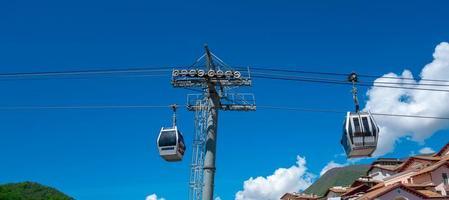 två stugor på en linbana under den klara blåa himlen foto