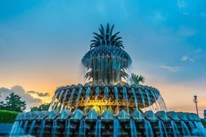 ananasfontänen, vid strandpromenaden i Charleston foto