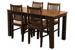 trä matbord uppsättning isolerade. foto