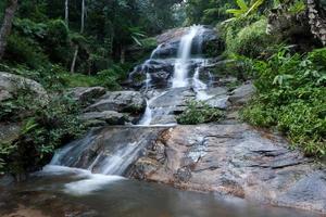 vatten rinner vid ett vackert vattenfall foto