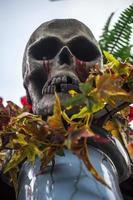 mänskligt dödsskelettben och skalle foto