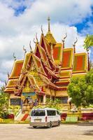 färgstark arkitektur på wat plai laem -templet på Koh Samui -ön, Thailand, 2018 foto