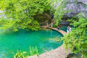 gångbro i Plitvice Lakes National Park, Kroatien foto