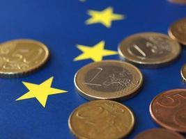 euromynt, Europeiska unionen, över flagga foto