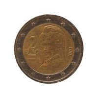 2 euromynt, Europeiska unionen, Österrike isolerat över vitt foto
