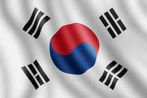 Sydkoreas flagga, realistisk illustration foto