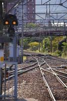 närbild järnväg för tåg i hokkaido foto