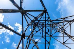 högspänning elektrisk pelare underifrån foto