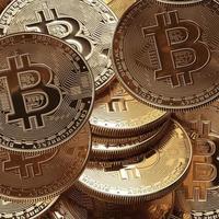 3D render bitcoin koncept. nya virtuella pengar. kryptovaluta foto