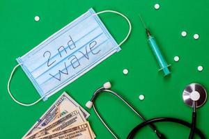 covid 19 andra vågen. covid 19. medicinsk mask på färger bakgrund foto