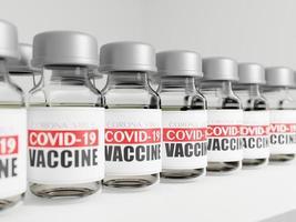 3D-rendering av covid-19-vaccinflaskor i en rad foto