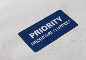prioriterad postetikett foto