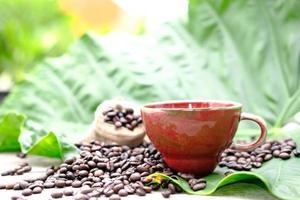 kopp kaffe med kaffebönor på träbord foto