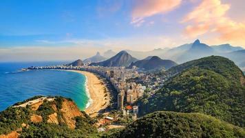 Copacabana Beach och Ipanema Beach i Rio de Janeiro, Brasilien foto