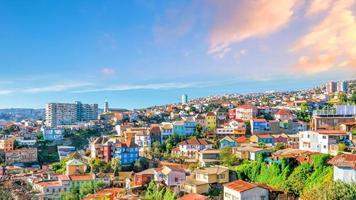 färgglada byggnader i valparaiso, chile foto