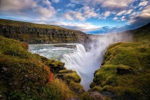 vackra och berömda gullfoss vattenfall på Island foto