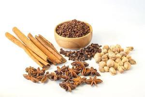 diverse färgglada kryddor på en vit bakgrund. foto
