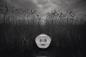Makedonien, sjön Ohrid, sjöbotten vit båt foto