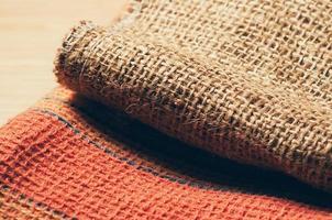 texturerat säckväv och bikakematerial foto