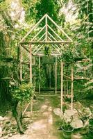 gammalt växthus i trädgården med vintage filter foto