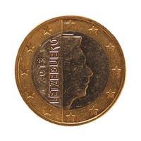 1 euromynt, Europeiska unionen, Luxemburg isolerat över vitt foto