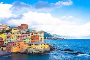 boccadasse marina panorama i Genua, Italien foto