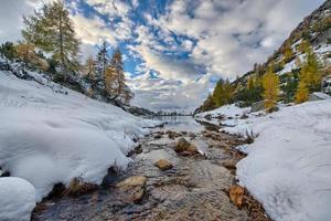 berg liten flod kommer in i sjön foto