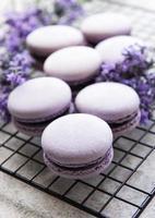 franska macarons med lavendelsmak foto
