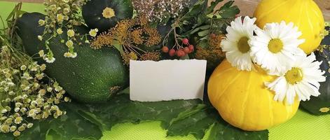 höst gratulationskort. horisontell bakgrund. höst stilleben foto