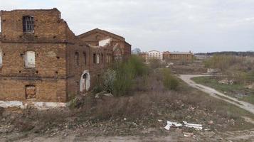 gammal övergiven sockerfabrik i vinnitsia -regionen, flygvy foto