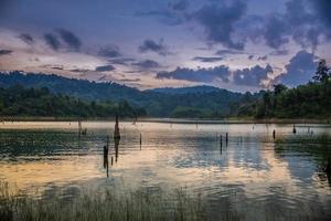 sjö i skogen under en molnig morgon foto