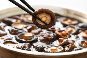 shitakesvamp med ätpinne asien ingrediens god lukt och hälsosamt foto