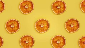 torkad apelsin på en gul bakgrund. foto