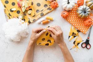 gör halloween textil diy pumpa foto