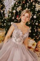 jul, vintersemester koncept. vacker kvinna foto