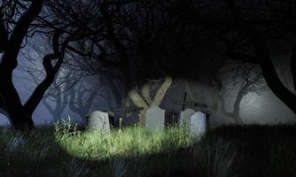kyrkogård i en skrämmande skog foto