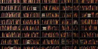 framifrån av elegant bibliotek med trappor foto