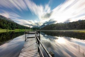 Staz Lake nära Sankt Moritz i Schweiz foto