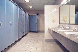 offentlig toalett och badrumsinredning med handfat och toalettrum. foto