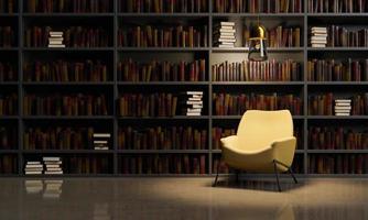 läsesal med soffa och bibliotek foto