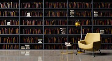 läsesal med bibliotek och fåtölj foto