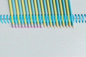 anteckningsbok med pastellkritor mellan ringarna foto