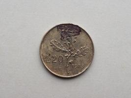 vintage 20 lire mynt, Italien foto