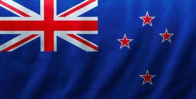Nya Zeelands flagg tyg siden våg textur bakgrund, 3d illustration. foto