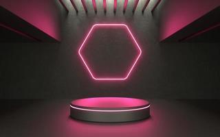 3d glödande neonproduktstadium för showcase eller promo tech -produkt foto